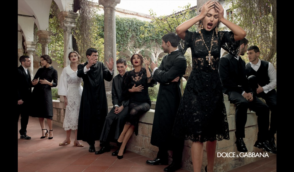 Dolce-and-Gabbana-Fall-Winter-2014-women-campaign-photos-kate-king-black-brocade