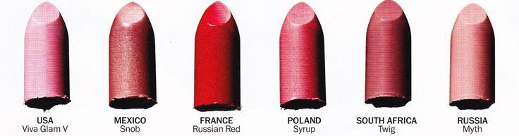 Teintes de rouges à lèvres MAC par popularité dans pays